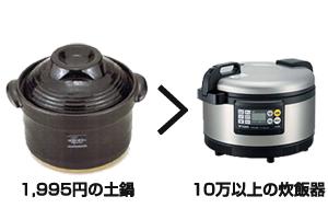 安い土鍋と高価な炊飯器