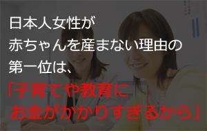 日本人女性が赤ちゃんを産まない理由の第一位は、「子育てや教育にお金がかかりすぎるから」