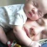 パパの顔の上で、スヤスヤ眠る赤ちゃん