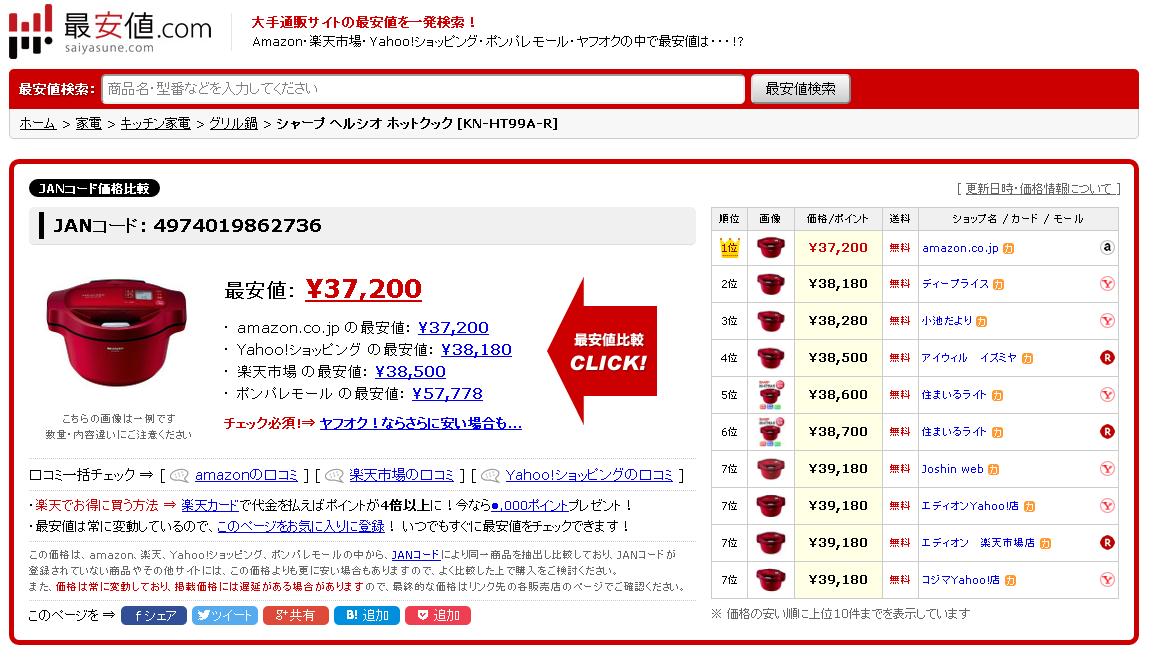 最安値.comの検索結果